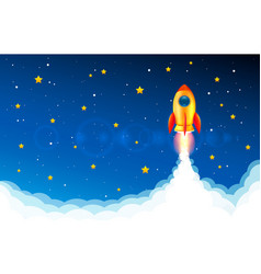 rocket take off into space idea start up vector image