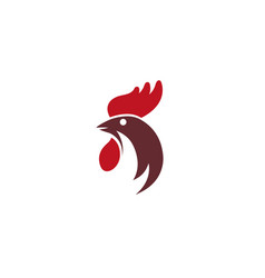 rooster head cockscomb logo design icon vector image