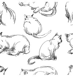 Seamless pattern domestic cat slketches vector