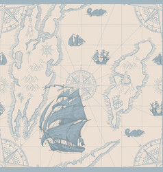seamless pattern on topic travel and pirates vector image
