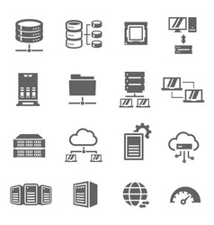 server and local network bold black silhouette vector image