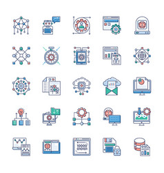 set modern technology icons vector image