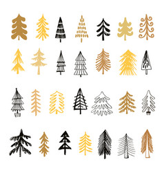 Set of christmas trees vector