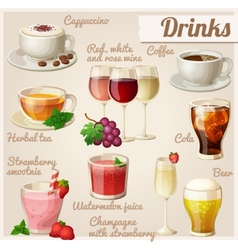 Set of food icons Drinks vector