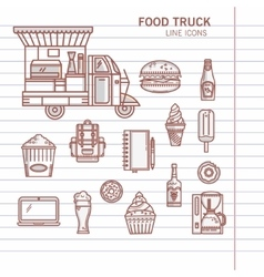 Set of linear icons food truck vector image