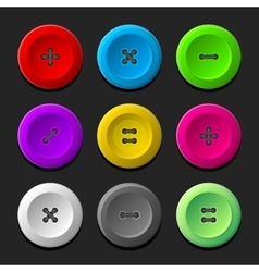Sewing Buttons Set on Dark Background vector image