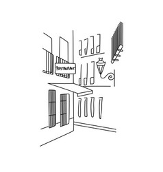 single line hand drawing of a street corner with b vector image