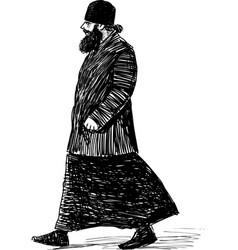 Sketch orthodox priest striding down street vector