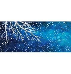 Sky Tree Branches Christmas Banner vector image