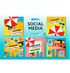 social media templates summer time use for blog vector image