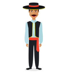 spanish man in traditional costume national vector image