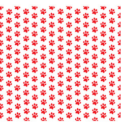 Square seamless pattern of red animals pawprints vector