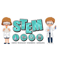 stem education logo with scientist kids cartoon vector image