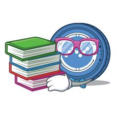Student with book nano coin mascot cartoon vector