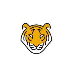 tiger head logo icon line outline monoline vector image