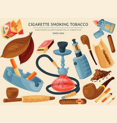Tobacco cigar and hookah banner vector