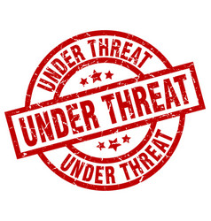 Under threat round red grunge stamp vector