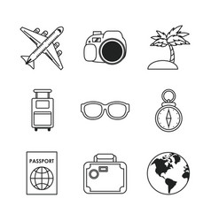 vacations and travel icons vector image vector image