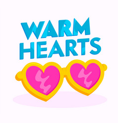 warm hearts banner or icon heart shaped pink vector image