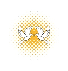 Wedding two doves comics icon vector