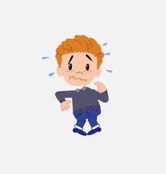 White boy in jeans scared vector