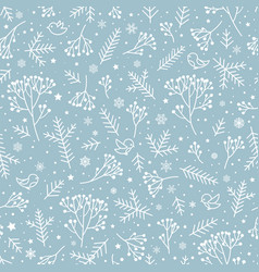 winter holiday nature seamless floral pattern vector image