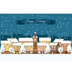 Winter Town Happy Holidays vector image