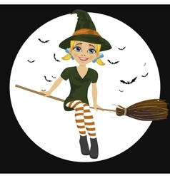 Witch in green dress flying on broom vector