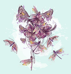 With dragonfly and butterflies in shape air vector