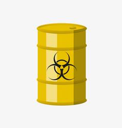 Yellow metal barrel with toxic vector