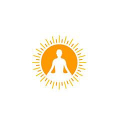 Yoga sun logo icon design vector