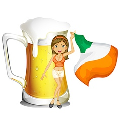 A girl holding a flag in front of a large glass of vector image vector image