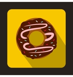 Chocolate donut icon in flat style vector image
