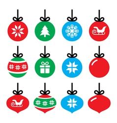 Christmas ball Christmas bauble icons set vector image vector image