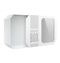 Light Realistic Package Cardboard Box with a vector image vector image