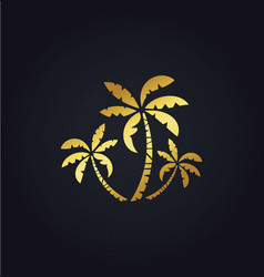 Palm tree nature gold logo vector