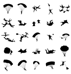 Parachutist silhouette set simple style vector image