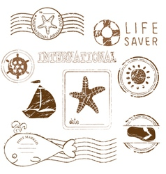 sea elements - rubber stamp collection vector image