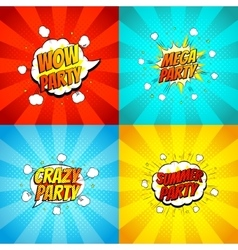 Set of disco party symbols in pop art style vector