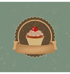 Vintage Cupcake With Cherry And Ribbon vector image vector image