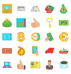 key to the safe icons set cartoon style vector image