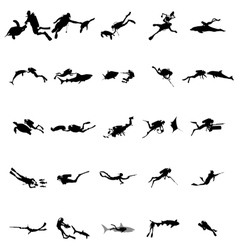 Scuba diver silhouette set simple style vector image