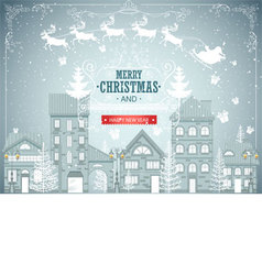Christmas city landscape urban winter background vector image