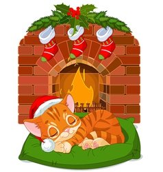 Christmas Kitten Sleeping near Fireplace vector image vector image