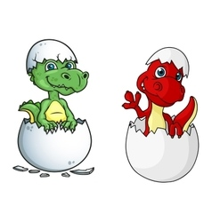 Cute little dinosaurs characters out of eggs vector image