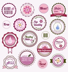 Set of cosmetic badges labels and stickers vector image vector image