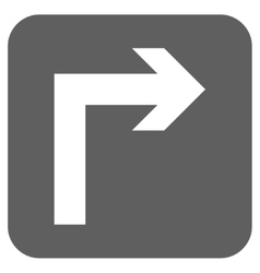Turn Right Flat Squared Icon vector image