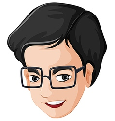 A head of a happy man with an eyeglass vector image vector image