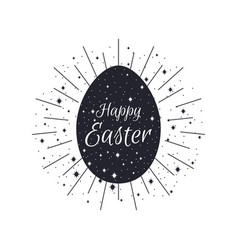 happy easter egg with rays black and white color vector image vector image