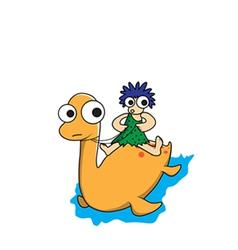 Man and dinosaur cartoon vector image